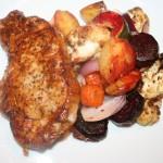 Saftig fläskkotlett och ugnsbakade grönsaker – god vardagsmat!