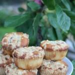 Kardemumma- och vaniljdoftande plommonmuffins med havrecrumble