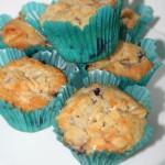 Söta blåbärsmuffins med tosca-topping