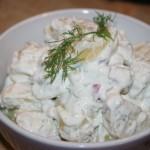 Krämig potatissallad med dill och vitlök