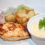 Flädermarinerad kycklingfile med smör-och vitlöksrostad potatis